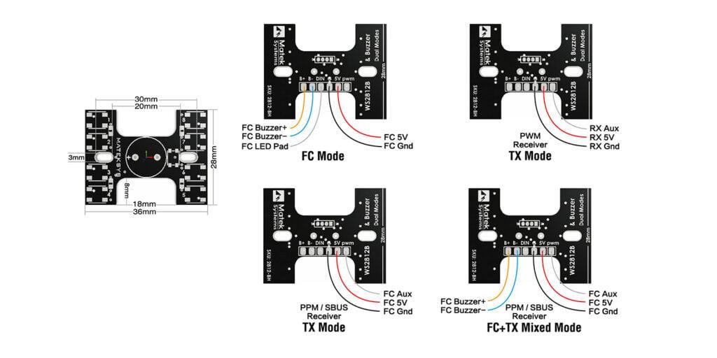 matek tail light WS2812B loud buzzer desc 2 mantisfpv