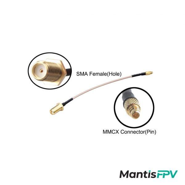 MMCX to SMA Female 120mm FPV Antenna Extension details mantisfpv