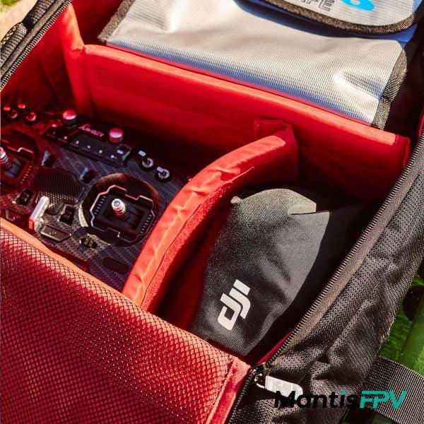 FPV Quad Essentials Backpack Australia laptop sleeve Product inside Red MantisFPV