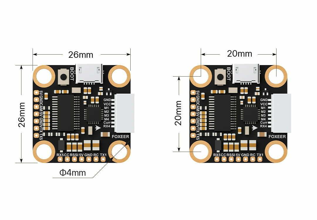 foxeer f722 v2 mini flight controller description size