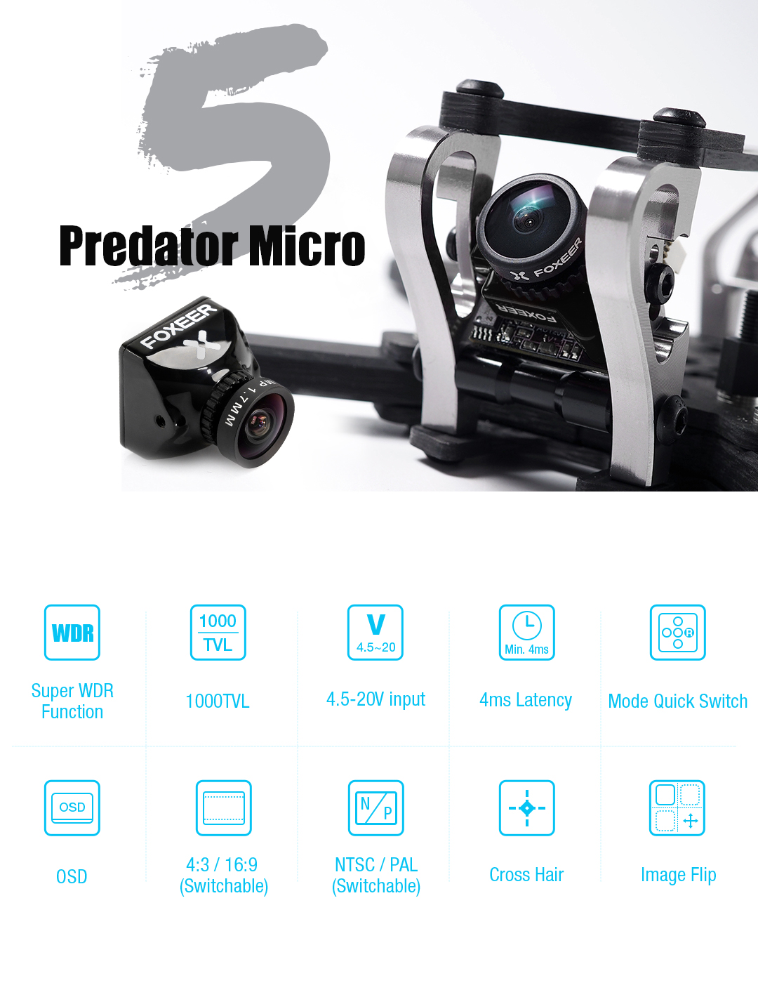 foxeer micro predator 5 racing fpv camera m8 lens 4ms latency super wdr australia description mantisfpv