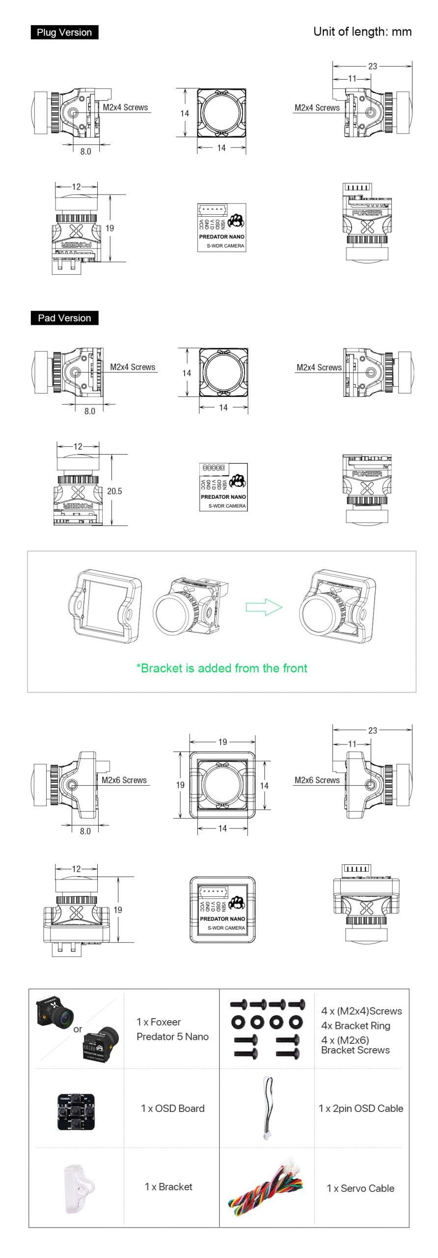 foxeer predator nano v5 m8 1000tvl 1 8mm fpv camera australia mantisfpv includes scaled