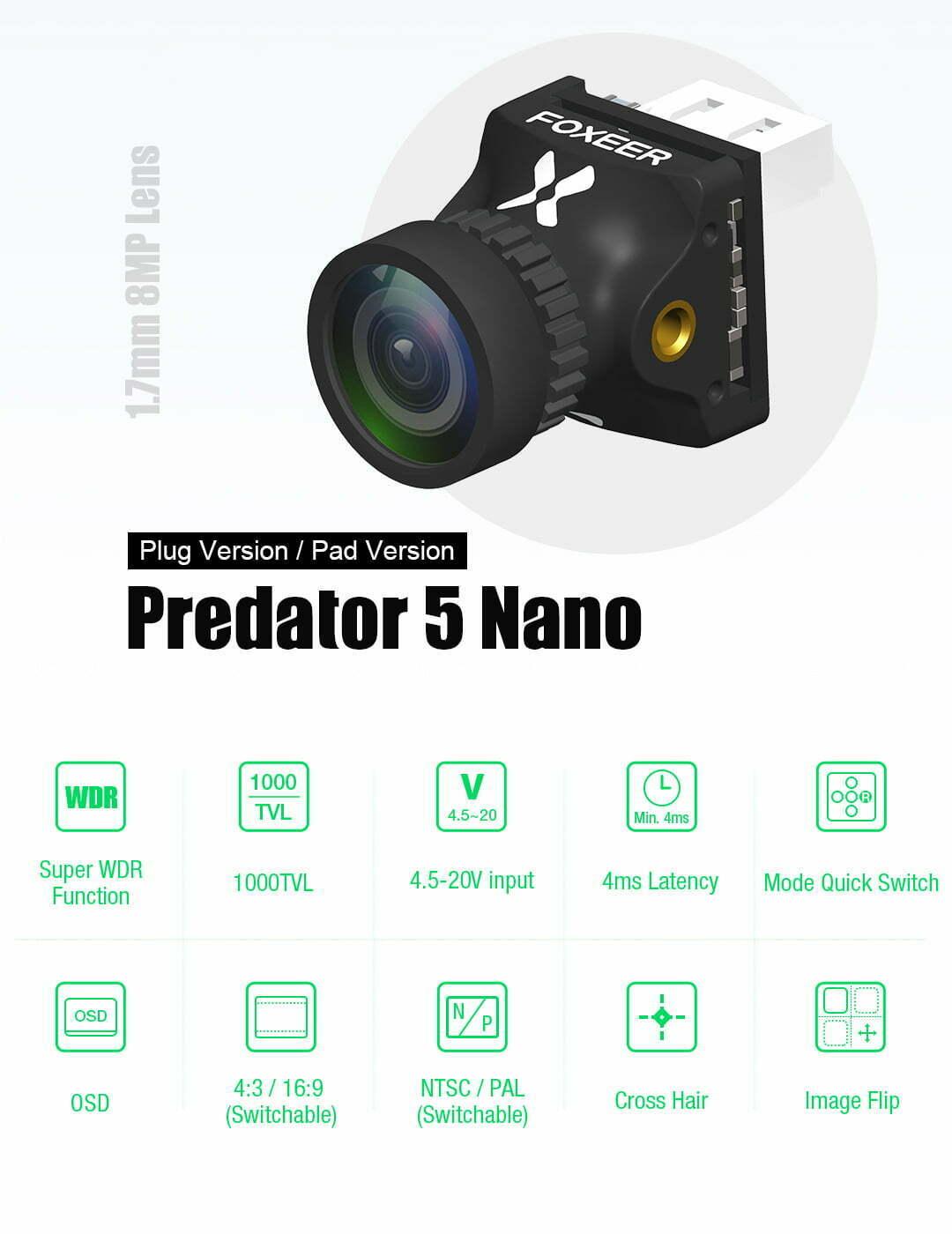 foxeer predator nano v5 m8 1000tvl 1 8mm fpv camera australia mantisfpv