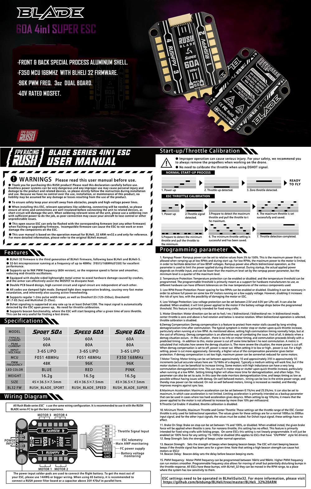 RUSHFPV RUSH BLADE 60A 3 6S BLHeli 32 4 in 1 ESC Super Edition DESCRIPTION mantisfpv australia