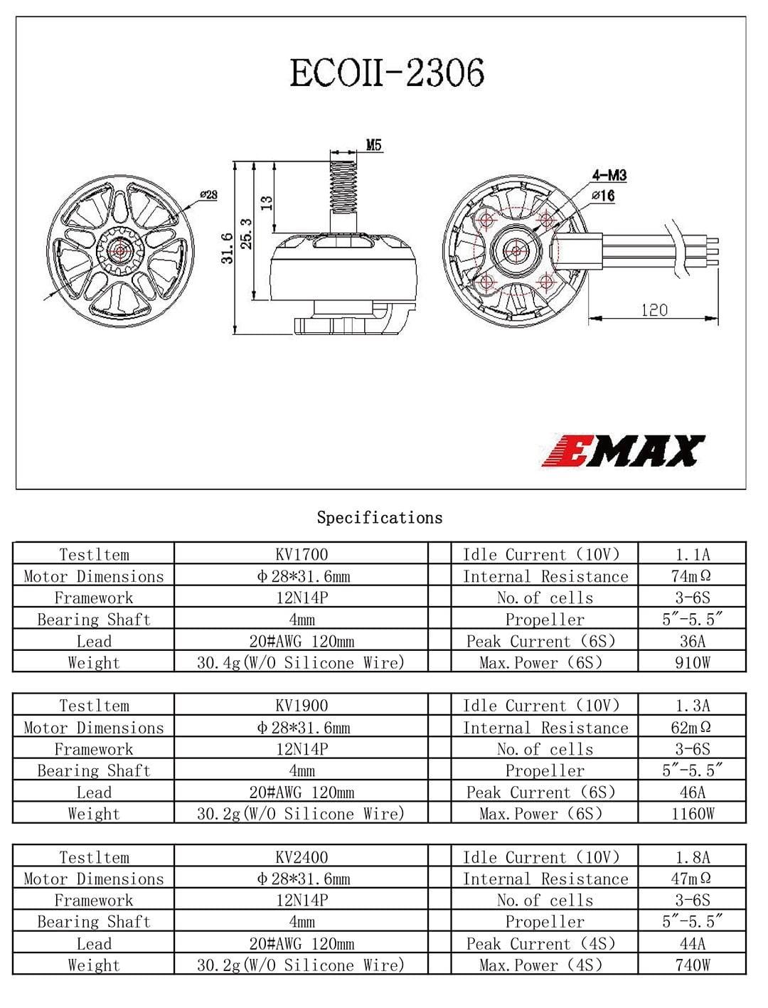 emax eco ii series 2306 1700 1900 2400kv brushless motor specifications mantisfpv