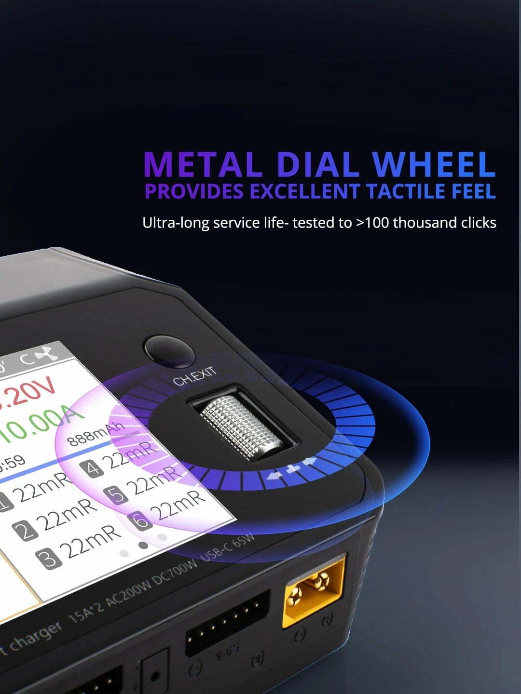 ToolkitRC M6DAC Dual Smart Charger DC 700W AC 200W description new scroll wheel