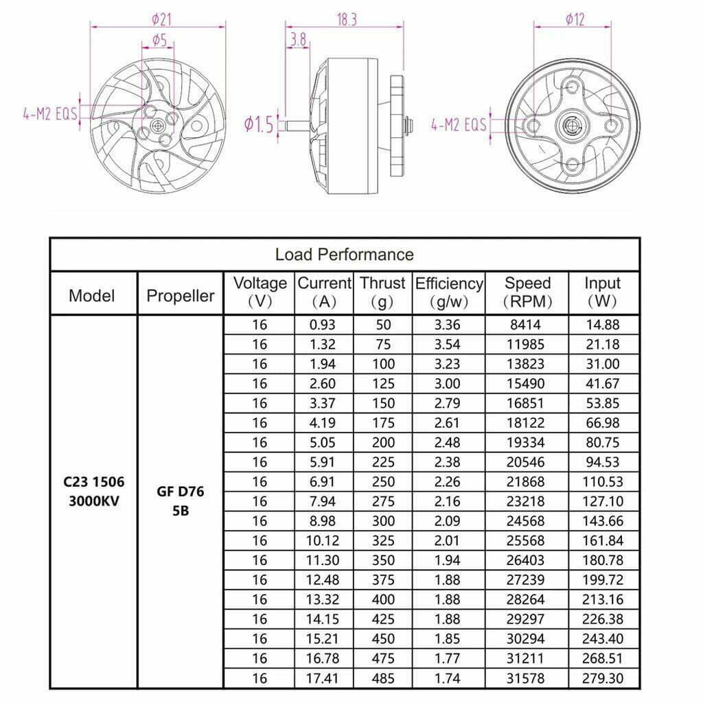betafpv 1506 3000kv brushless motors specifications