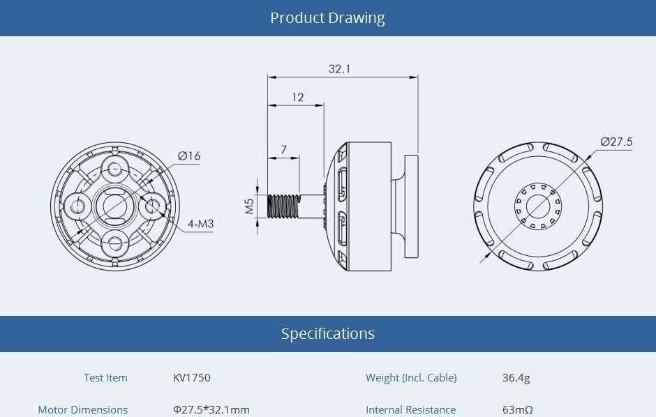 t motor heiko 2207 5 1750kv motor description 1